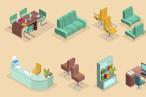 Isometric Office Interior Icons Set