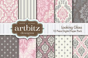 Looking Glass Damask Digital Paper
