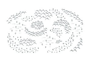 Draw map with mountains, forest and
