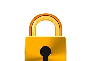 Glossy golden realistic padlock