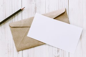 A envelope on wooden background