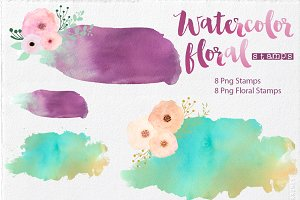 Watercolor Stamps & Floral Stamps