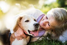 Senior woman with dog in spring by  in People