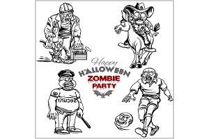 Cartoon zombie set isolated on white
