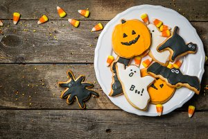 Halloween concept with cookies and
