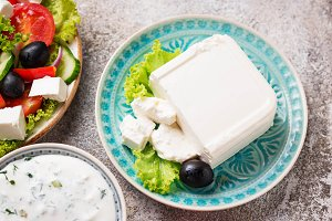 Fresh feta cheese with olives