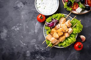 Traditional greek meat skewers
