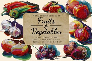 Hand drawn Fruits and Vegetables set