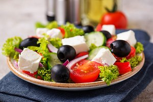 Traditional Greek salad with feta