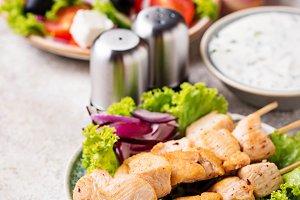 Traditional greek meat skewers