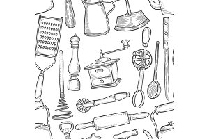 Vintage Chef Tools Pattern