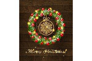 Christmas wreath on wooden backgroun
