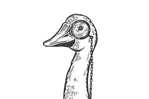 Goose wih monocle engraving vector