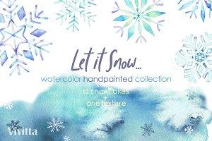 Watercolor snowflakes, Christmas