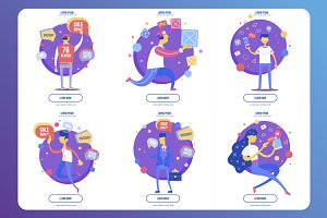 Set of flat illustrations for web.