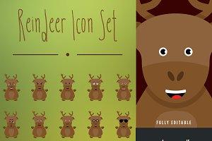 Reindeer Christmas Icon Set