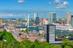 Panorama of Rotterdam city and the
