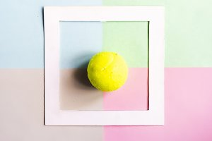 creative flat lay with tennis bal is