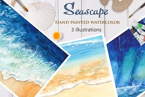Seascape. Hand painted watercolor.