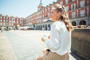 smiling young woman at Plaza Mayor i