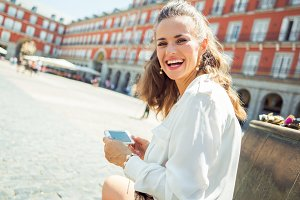 smiling woman at Plaza Mayor in Madr