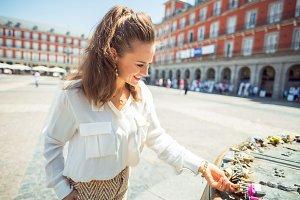 tourist woman at Plaza Mayor viewing