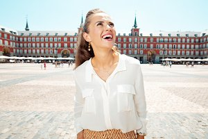 tourist woman at Plaza Mayor explori