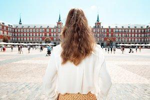 tourist woman at Plaza Mayor and exp