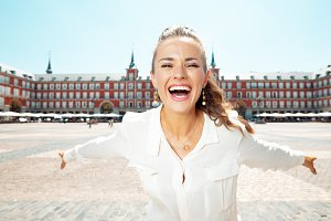 smiling tourist woman at Plaza Mayor
