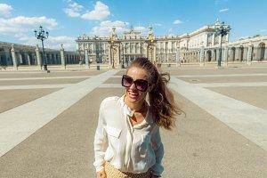 happy modern tourist woman near Roya