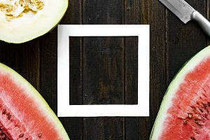 top flat lay of fresh melon and wate