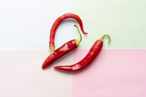 flat lay of red hot chilli pepper on