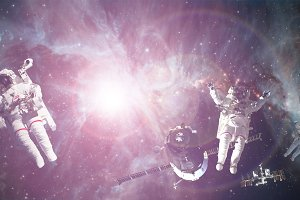 astronaut spacewalk in outer space a