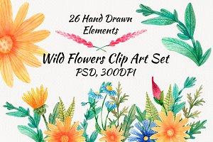 Watercolor Wild Flowers Clip Art