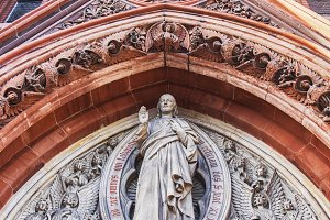 Gothic relief sculpture on church