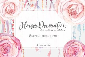 Floral Graphic Wedding Invitation 05