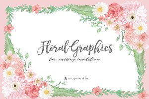 Floral Graphic Wedding Invitation 04