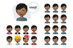 Young Indian Male Avatar Set