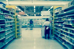 Abstract blurred photo of store with
