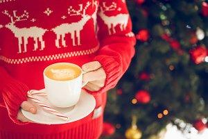 Girl and coffee. Christmas mood