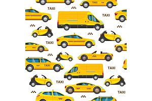 taxi cars seamless pattern