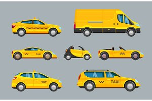 taxi cars. collection of service
