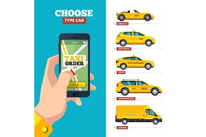 taxi order online. hand holding