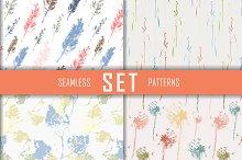 4 seamless patterns set. Vector.