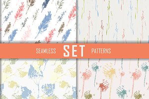 4 seamless patterns set. Vector.