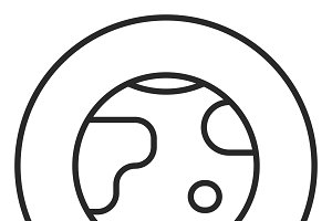 Earth stroke icon, logo illustration