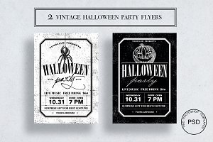 2 Vintage Halloween flyer templates