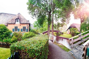 summer panorama of  dutch village