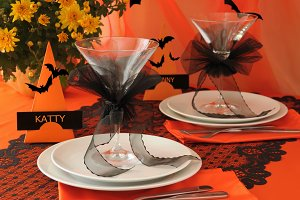 Festive table on Halloween