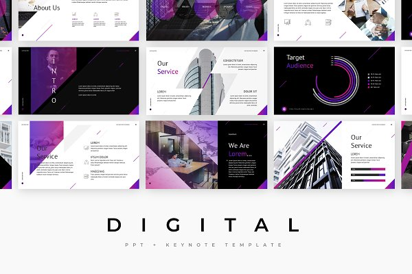Digital - PowerPoint template + KEY